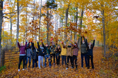 Students in wooded area throw fallen leaves over their heads