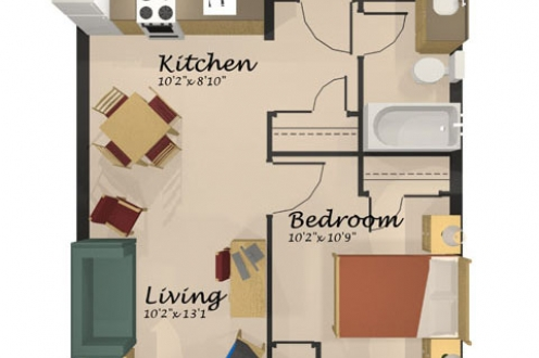 A floor plan of the one-bedroom apartment