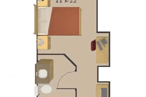 A floor plan of the private room