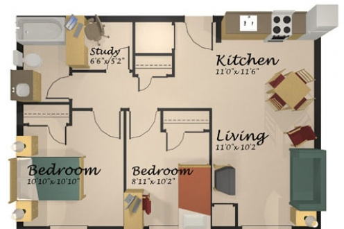 A floor plan of the two-bedroom apartment