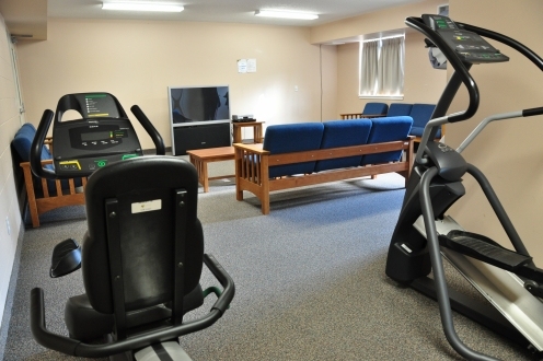 Two fitness machines overlooking a TV room