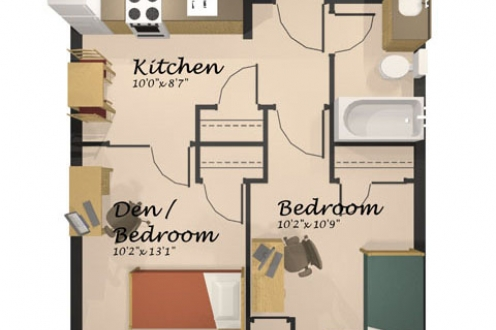 A floor plan of the economy suite