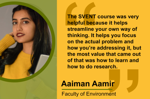 Aaiman Aamir: The SVENT course was very helpful because it helps streamline your own way of thinking.