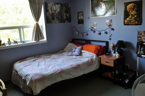 A decorated bedroom with double bed