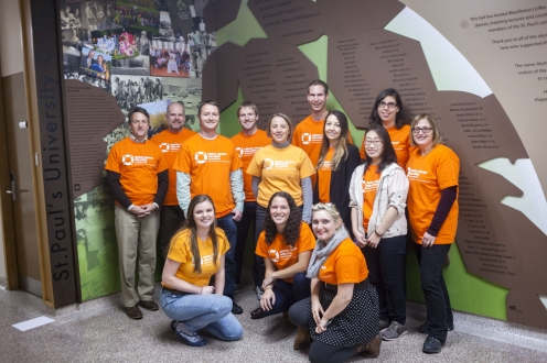 student and staff wearing orange for mental health