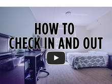 guest room check in video icon with room in the background and text overlay