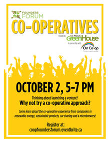 poster showcasing Co-operatives Founders Forum date