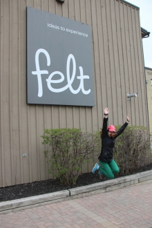 Student leaping at Felt's entry