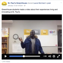 Picture of Facebook post of students' video