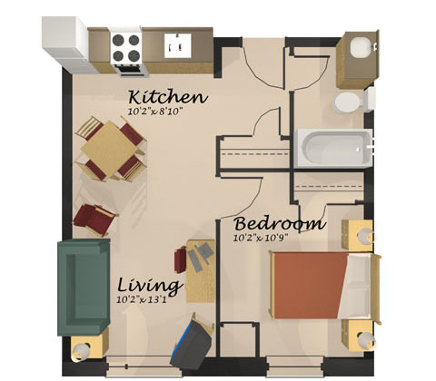 Floor Plans And Photos. A Floor Plan Of The One Bedroom Apartment