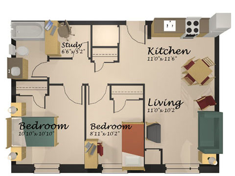 Two Bedroom Suite. Two bedroom suite with living room  St Paul s University College of Waterloo