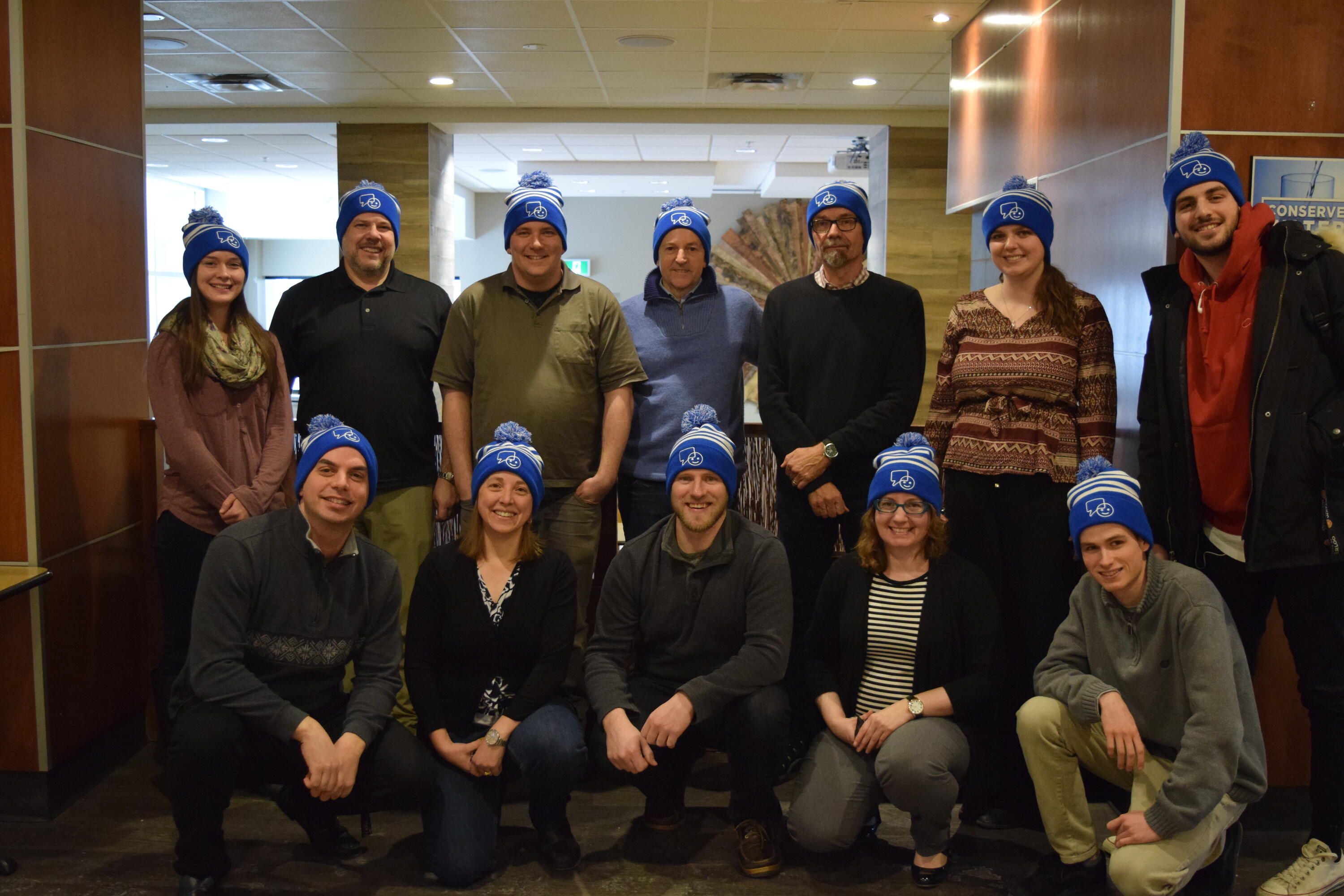 St. Paul's staff and faculty wearing hats for Bell Let's Talk Day
