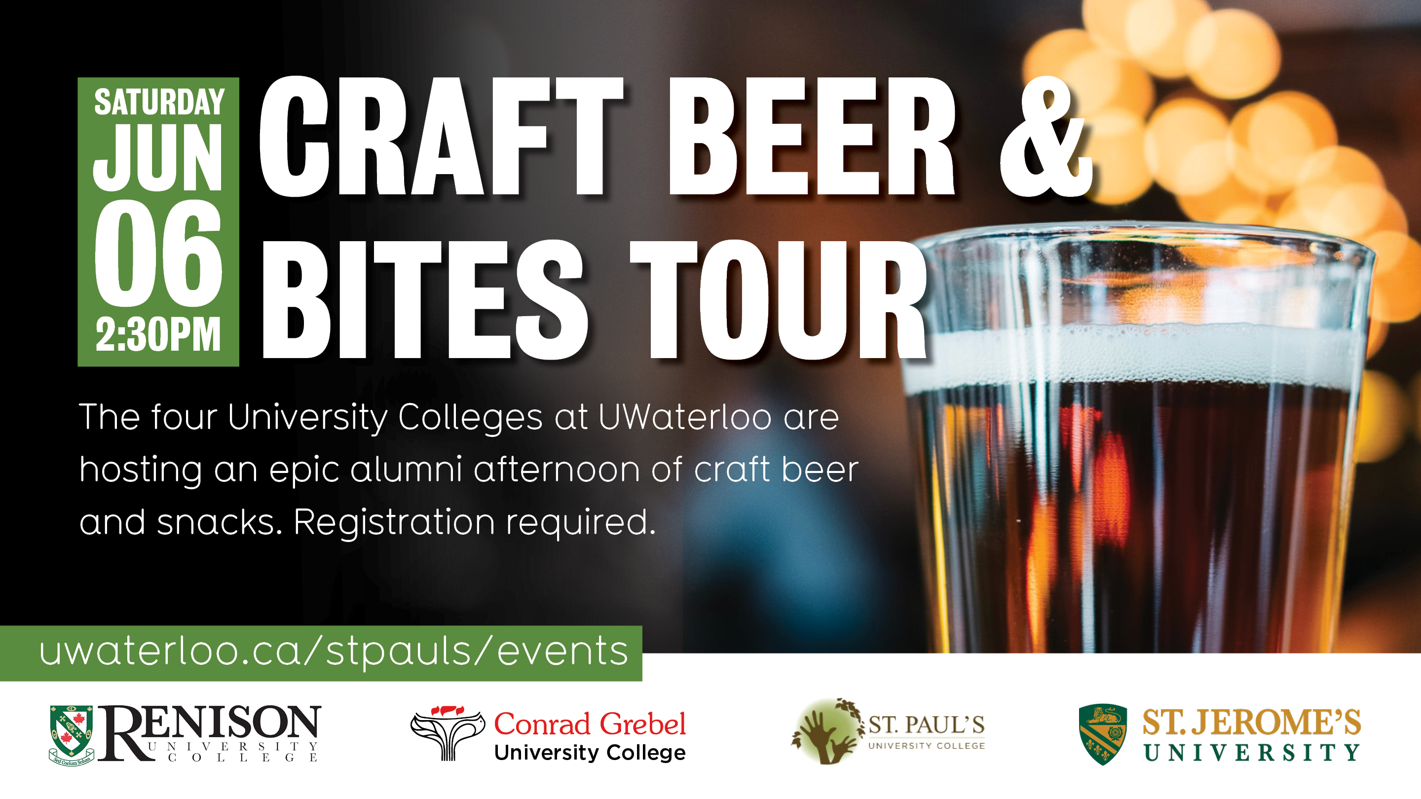 Advertisement for 2020 alumni weekend Across the Creek: Craft Beer & Bites tour