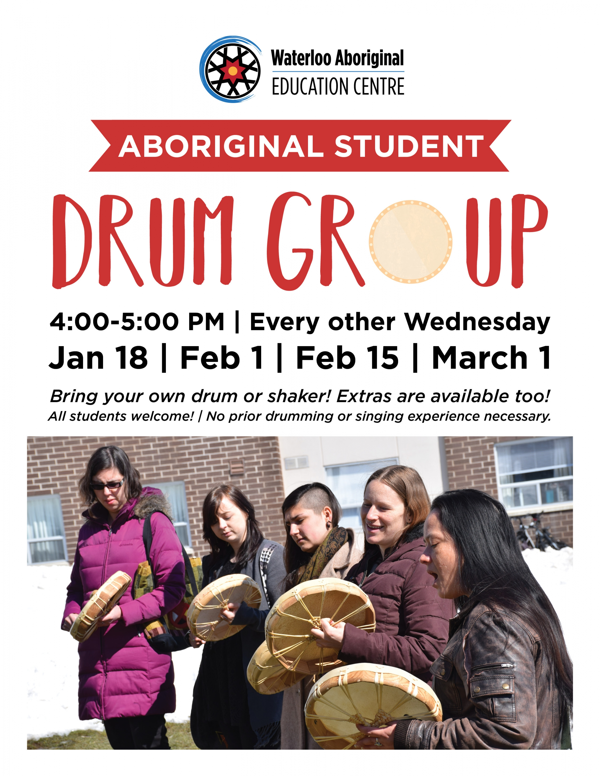 Drum Group poster with image of 5 women drumming outdoors