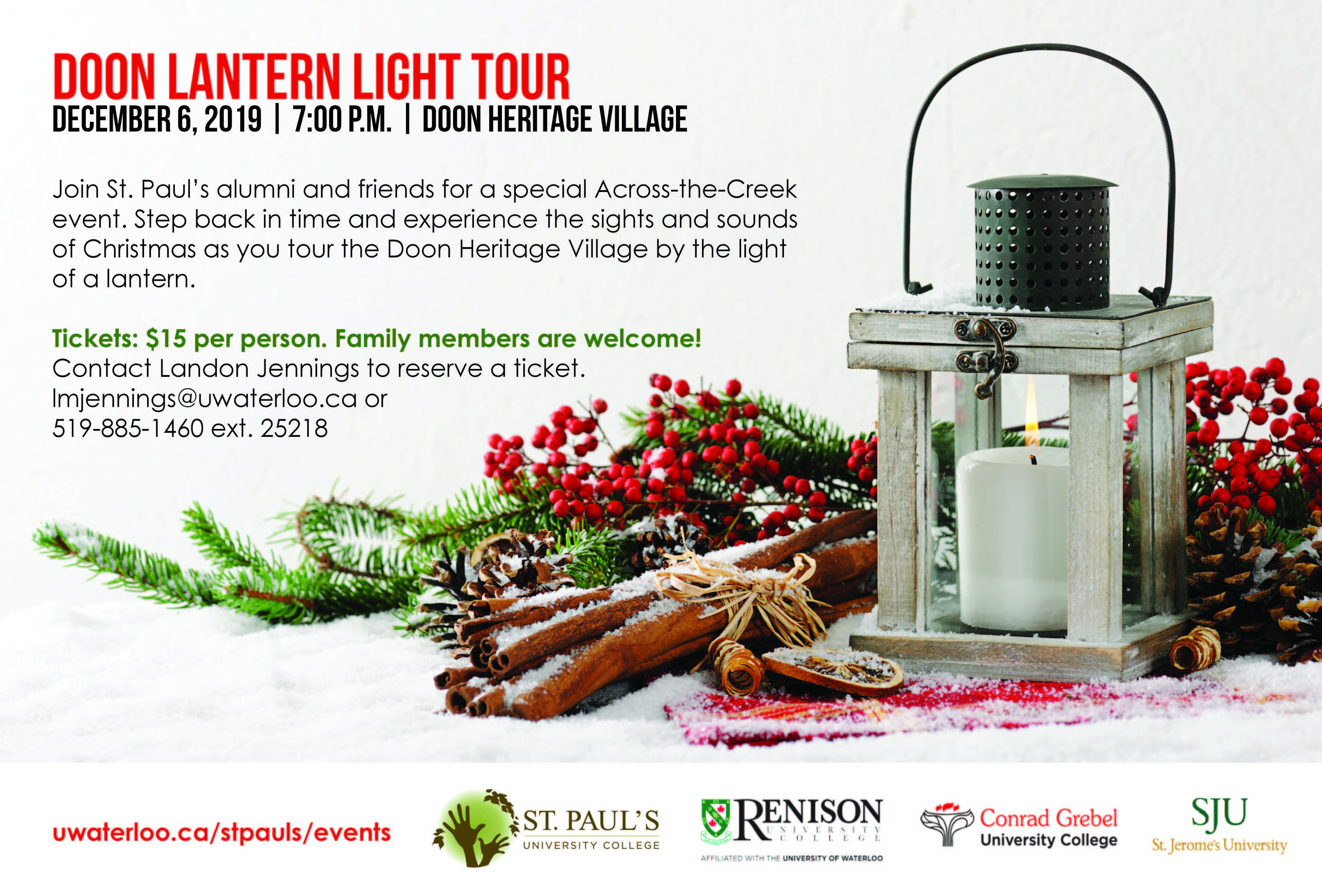 event flyer depicting a candle with Christmas decorations