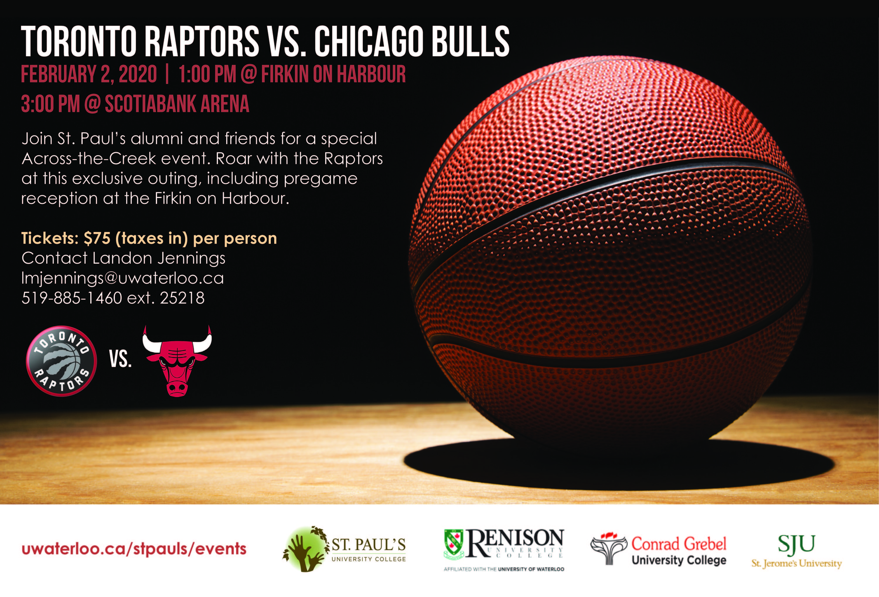 event promotional flyer with image of a basketball and the logos of the Chicago Bulls and Toronto Raptors