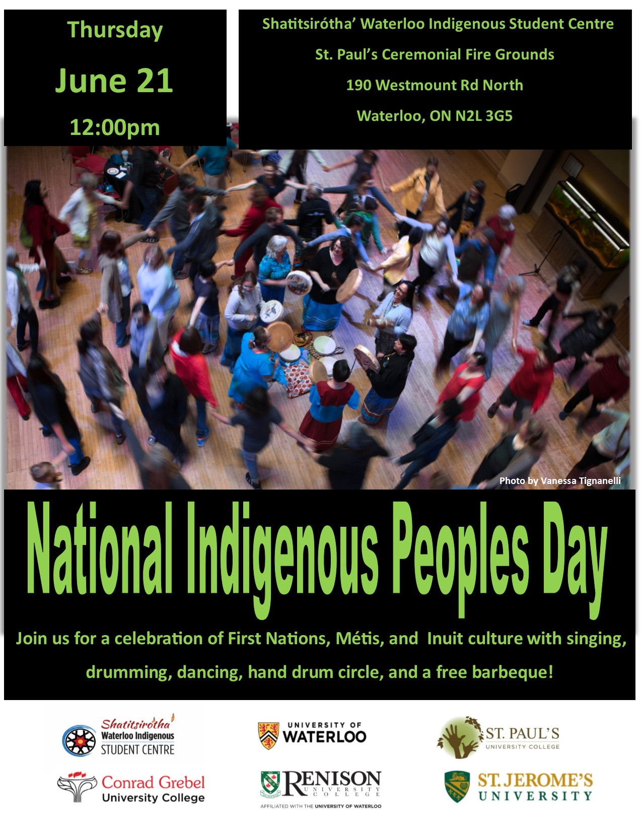 Green writing, national indigenous peoples day, people dancing