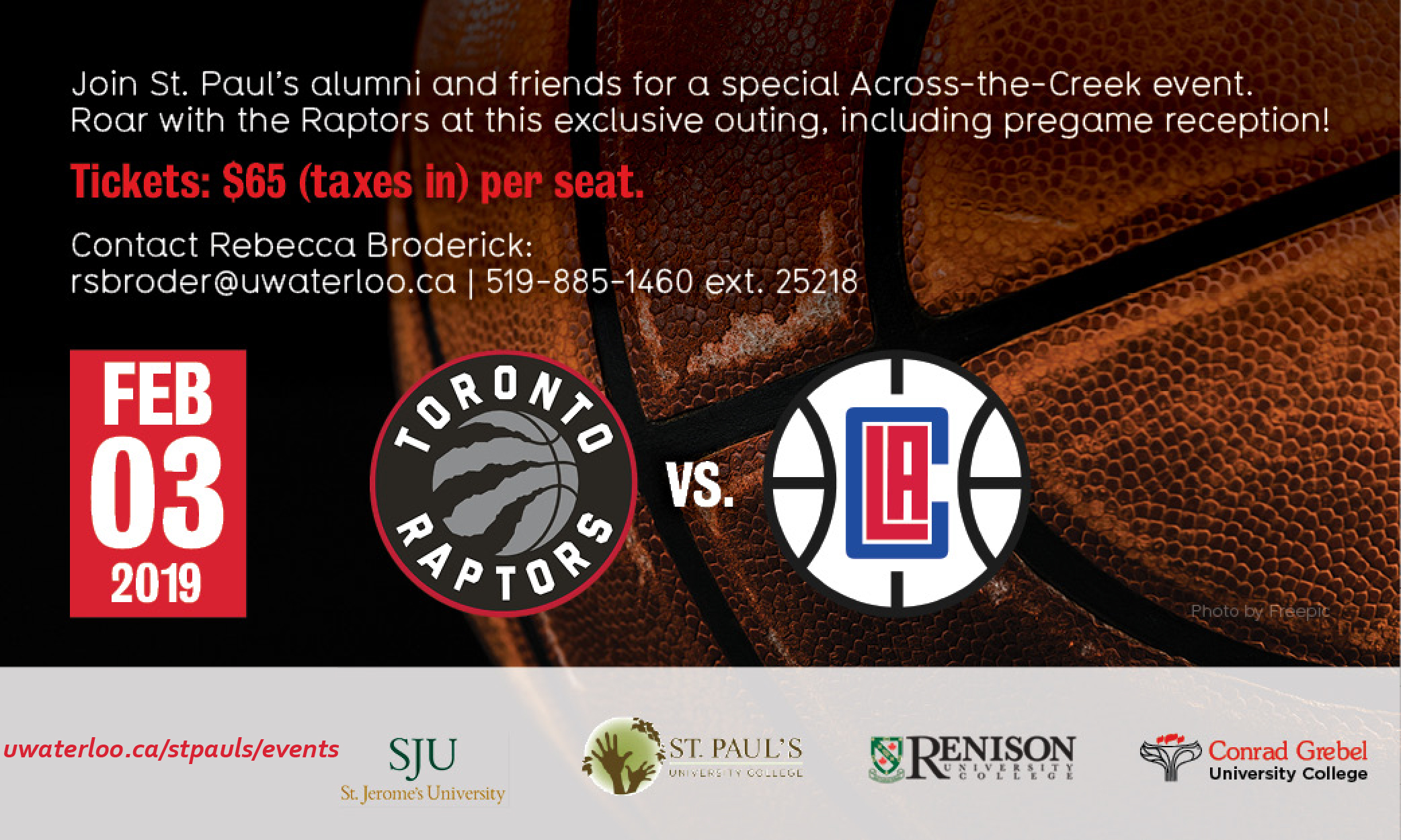 banner image advertising Raptors alumni game on February 3, 2019 versus LA Clippers
