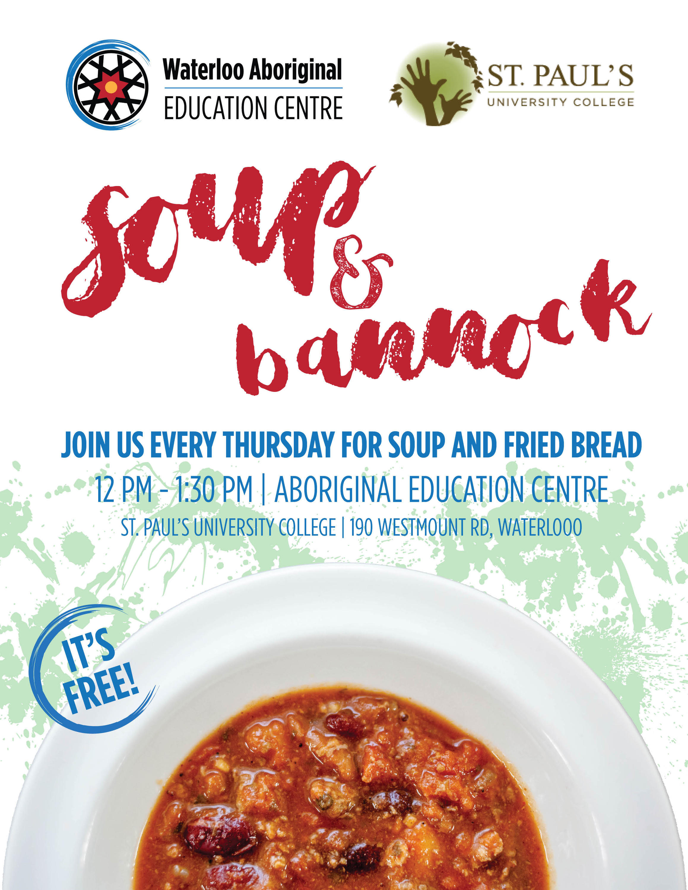 poster showcasing Soup and Bannock lunch dates