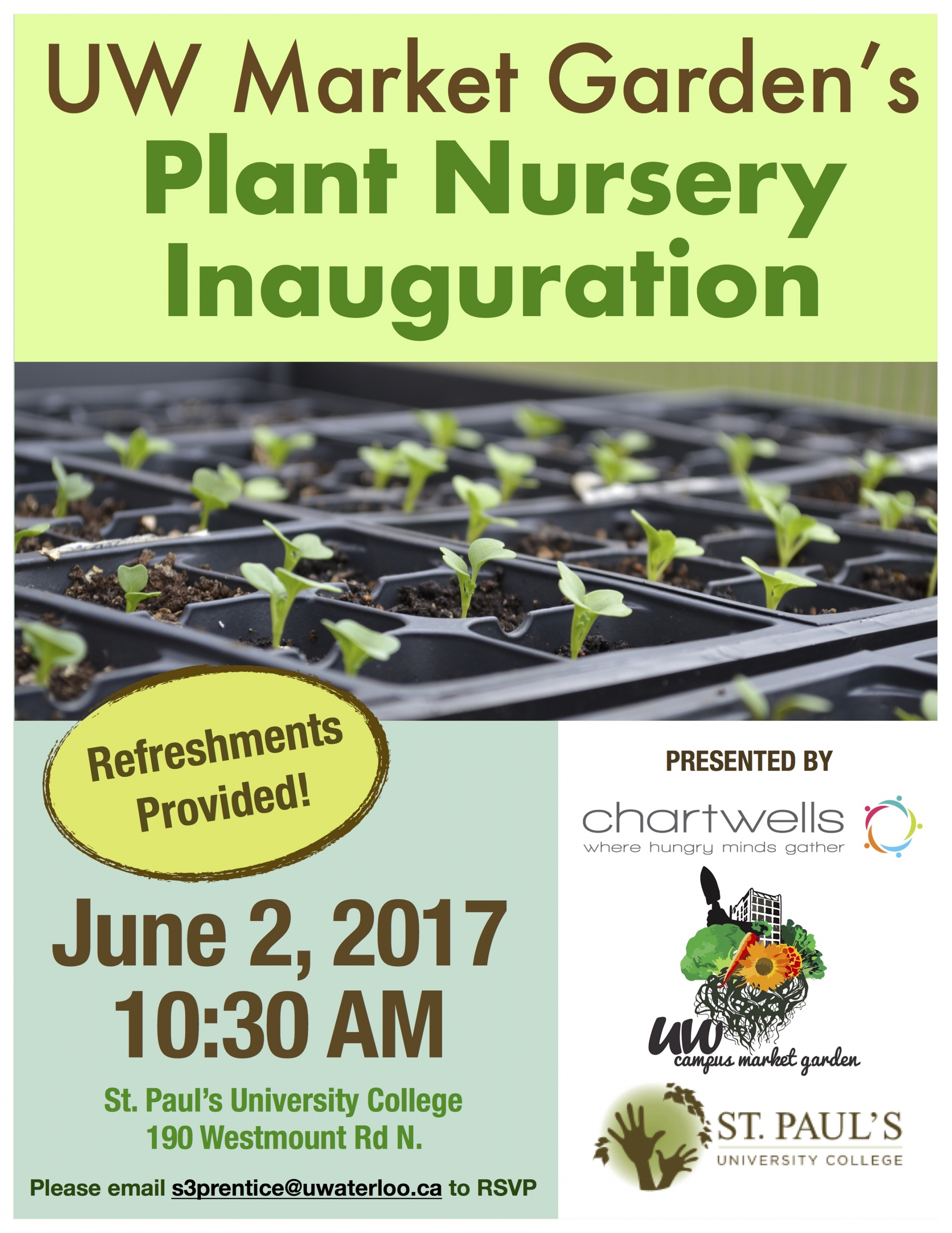 Poster showcasing Market Garden opening with image of plants growing in planters