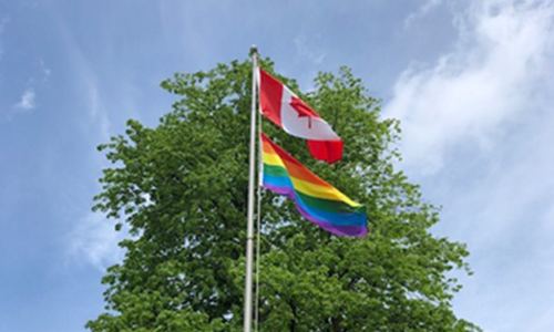 Pride flag flying at St. Paul's