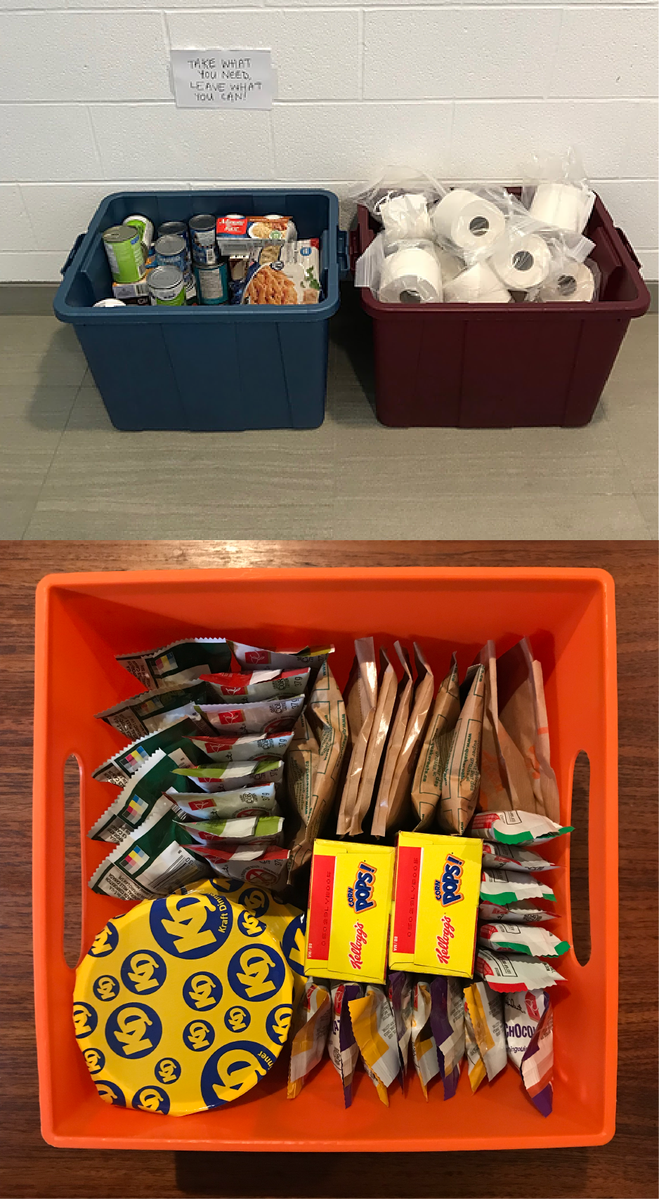Resource bins with food and toiletries