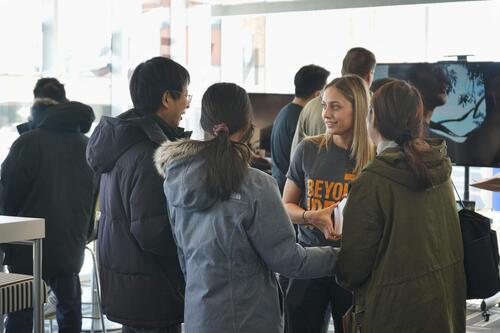 Student Ambassador giving tour at Open House