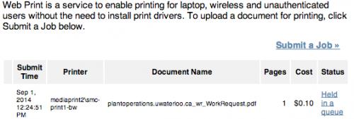 Printing instructions screenshot.