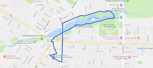 1 Hour walk route map
