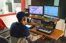 Student uses Audio Lab equipment