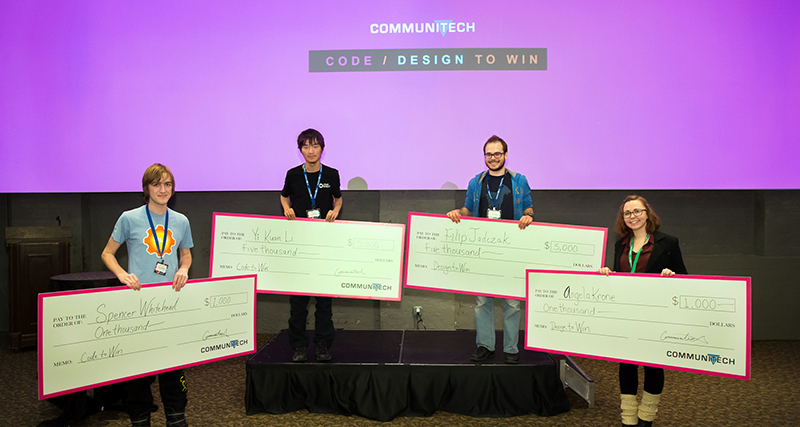 Student winners at Communitech Code/Design to Win competition