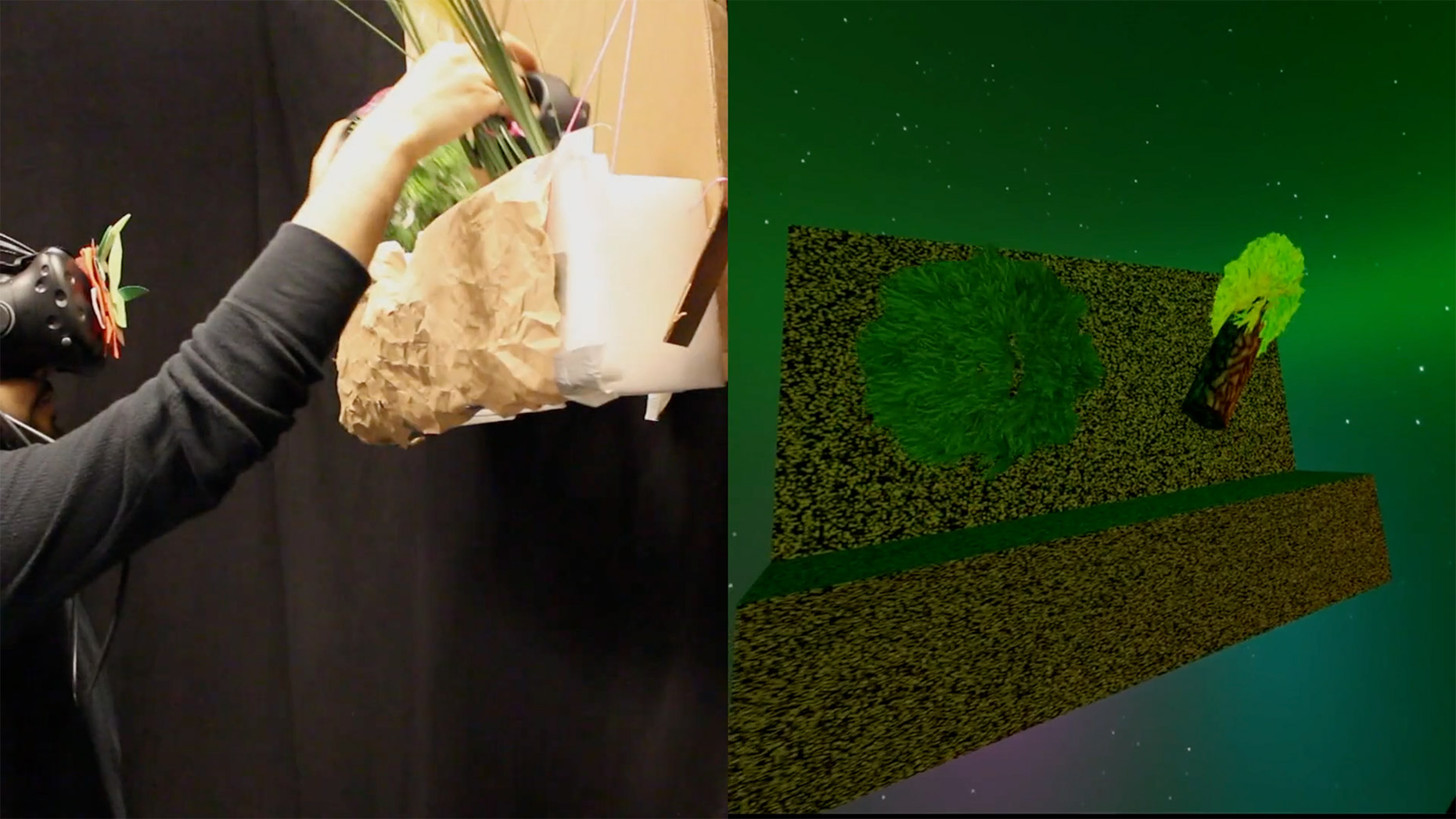 Person using VR headset and interacting with physical object like a tree, with screenshot of VR experience beside it.