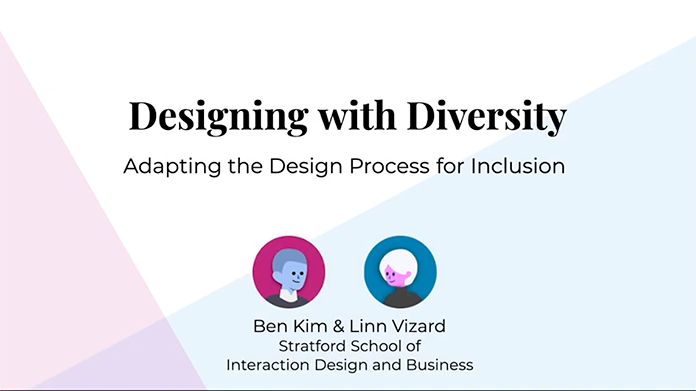 Designing with Diversity text and avatars of Ben Kim and Linn Vizard