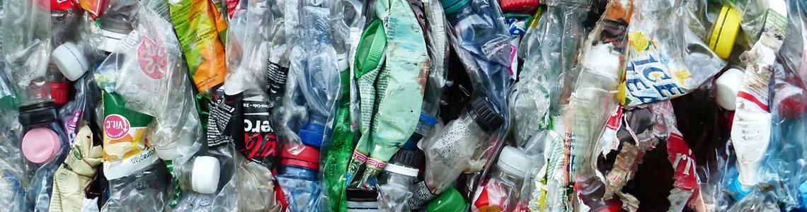 Picture of crushed plastic bottles and other plastic waste.