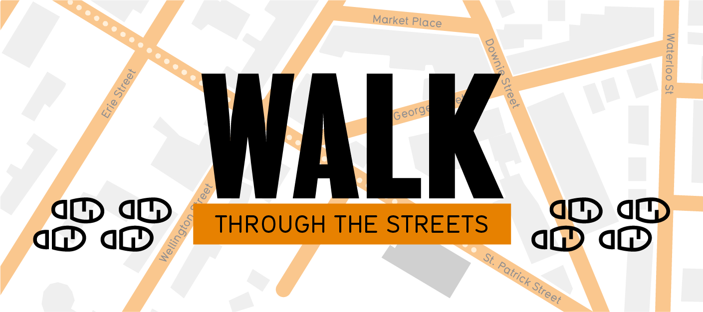 Walk through the streets logo, with map of Stratford below text.