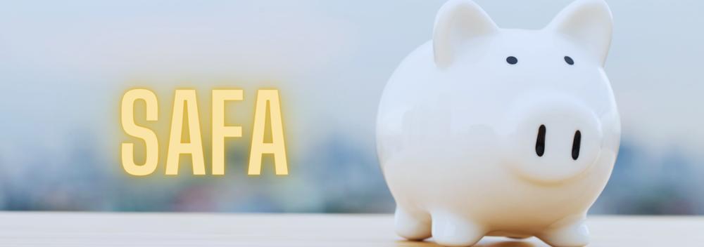 SAFA abbreviation and white piggy bank