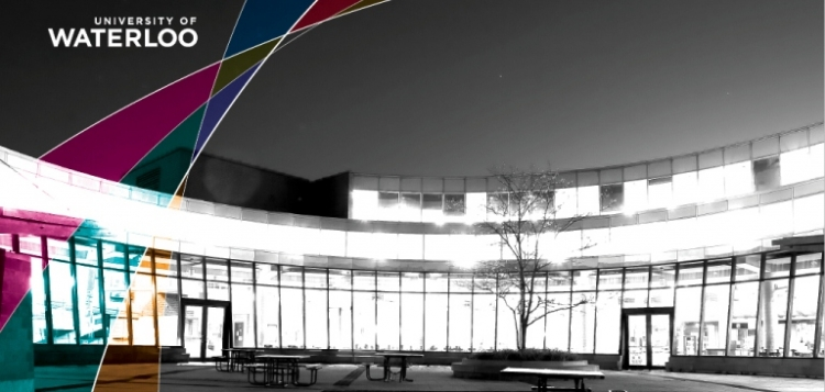 Brightly lit Student Life Centre courtyard at night.