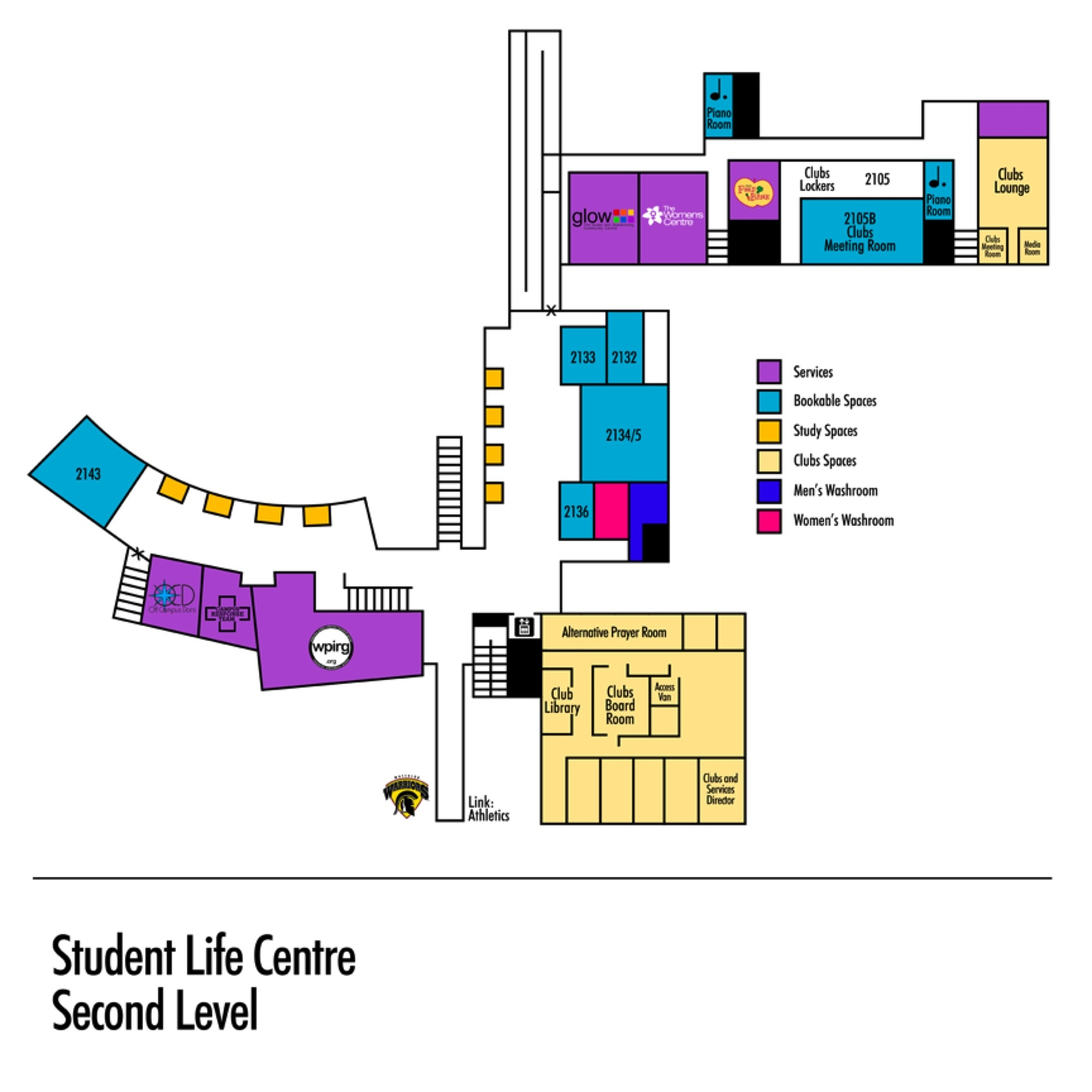 Student Life Centre second floor map