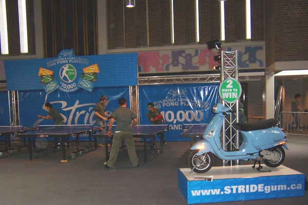 stride table tennis event with moped