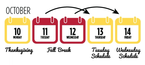 Tuesday and Wednesday are study days. Thursday runs on a Tuesday class schedule, Friday on a Wednesday schedule