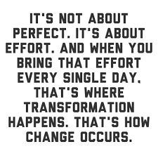 "A quote, ""It's not about perfect.  It's about effort.  And when you bring that effort every single day, that's where transformation happens.  That's how change occurs."