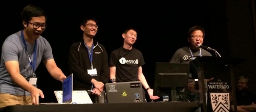 Edward Yang, John Liu, Kevin Nguyen, and Jack Gao at Hack the North