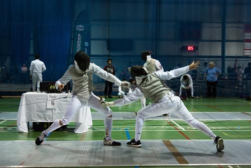 Fencers duelling