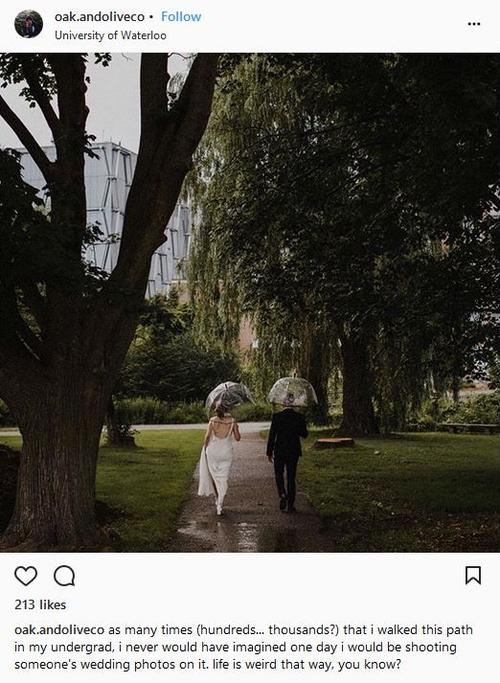A married couple walks away from the camera in the greenery of the Colleges campus