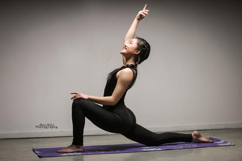 Cindy Wei doing yoga