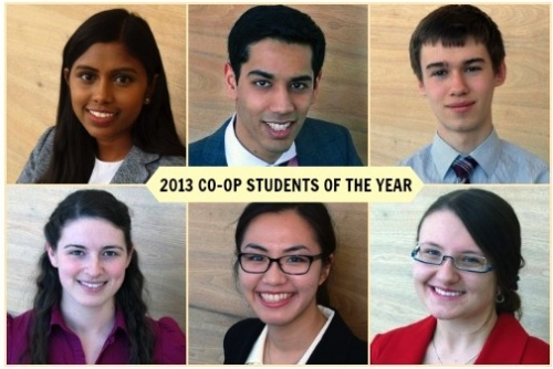 A collage snapshots of 6 co-op students of the year