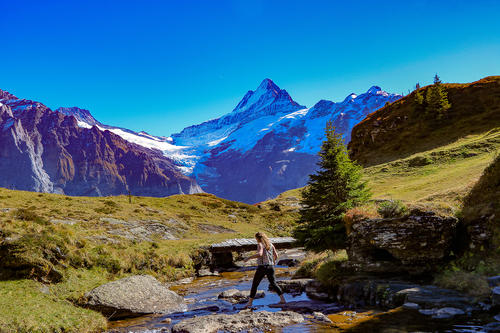 Hiking in the mountains in Grindelwald, Switzerland.