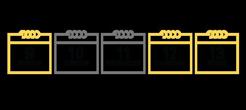 Fall Break 2017 Calendar in graphic format. Monday, October 9 - Thanksgiving. Tuesday, October 10 - Fall Break Study Day, Wednesday, October 11 - Fall Break Study Day. Thursday, October 12 - Tuesday Schedule, Friday October 13 - Wednesday Schedule.