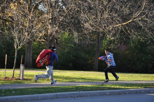Students playing Humans versus Zombies on campus.
