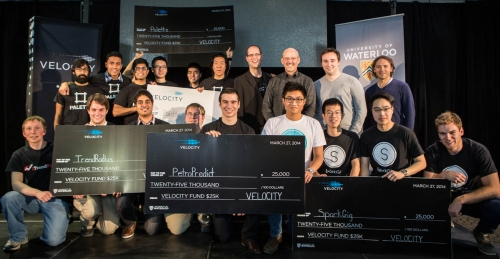 Photo of VeloCity startups winners on stage during the Velocity Fund Finals